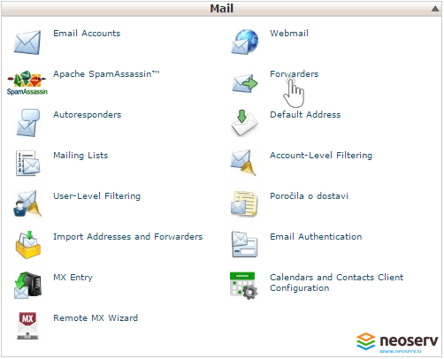 cPanel email forwarders.