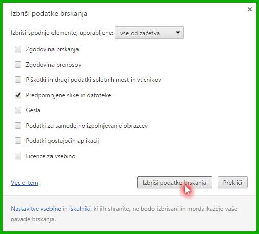 Google Chrome - izprazni predpomnilnik