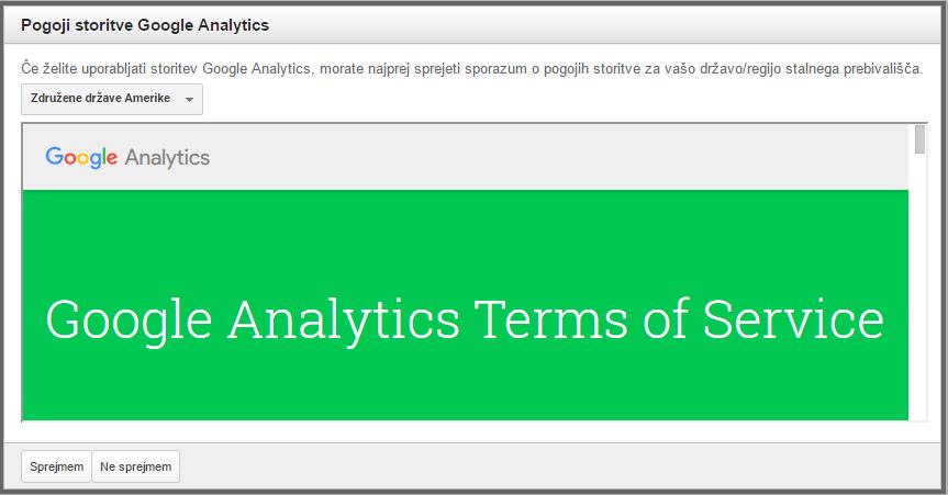 Potrditev pogojev uporabe Google Analytics