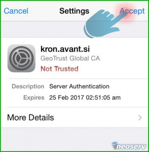 iPhone - Potrdi email certifikat
