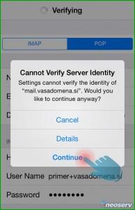 iPhone - Potrdi domensko verifikacijo