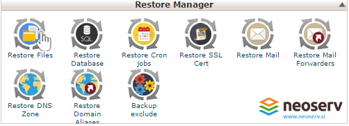 cPanel restore manager.