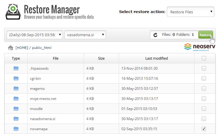 Restor manager cPanel - izberi datoteke.