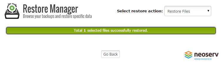 cPanel restore manager - uspešna obnova datotek.