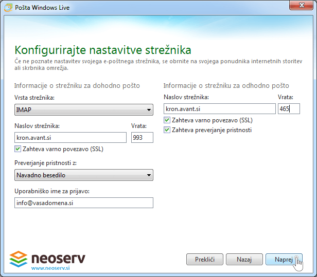 Windows live mail 2012 - imap z ssl - nastavitve streznika.