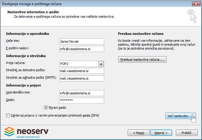 Outlook 2007 slo - nastavitve streznika.