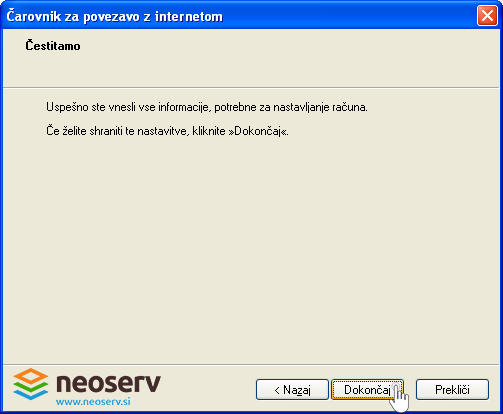 Outlook Express - klikni dokončaj.