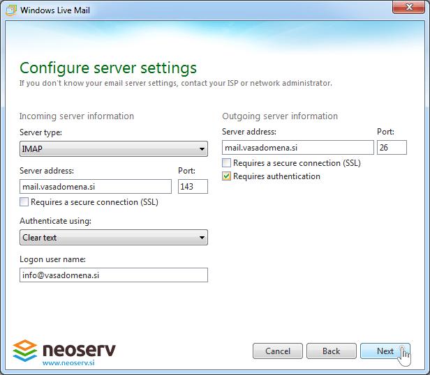 Windows live mail 2012 imap without ssl - server settings.
