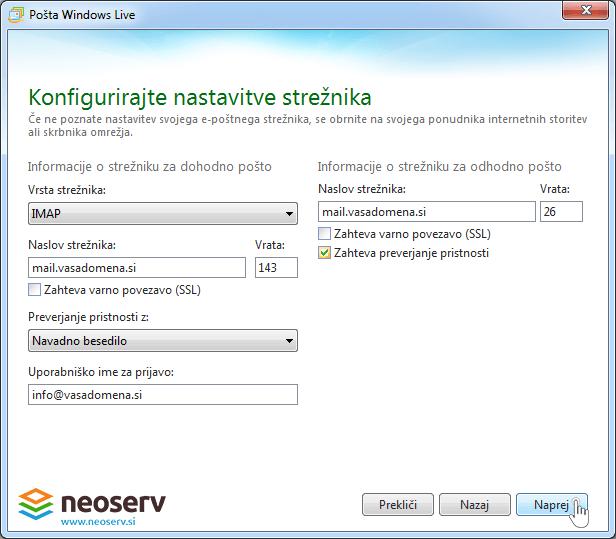 Windows live mail 2012 imap brez ssl - nastavitve streznika.