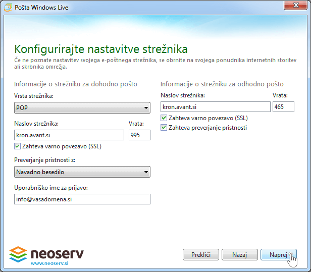 Windows live mail 2012 pop ssl - nastavitve streznika.