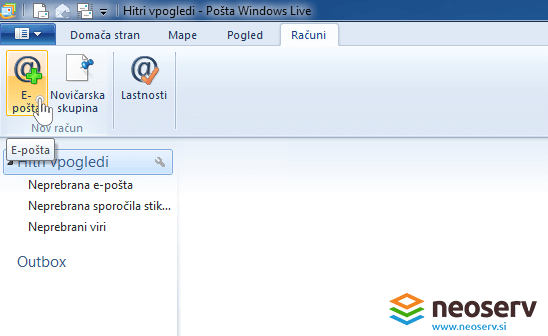 Windows live mail 2012 - dodajanje email racuna.