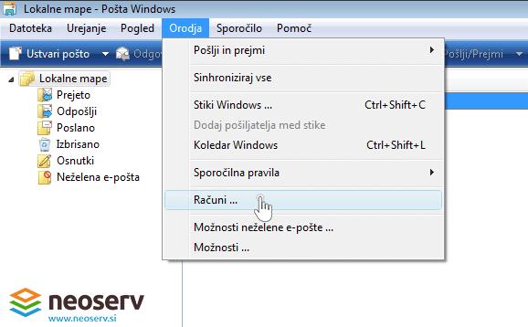Windows mail 6 slo - lastnosti racunov.