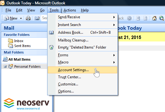 Outlook 2007 - account settings.