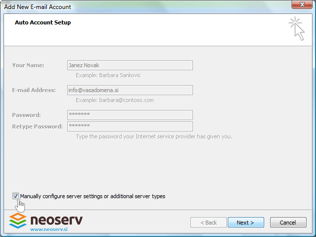 Outlook 2007 - manually configure.