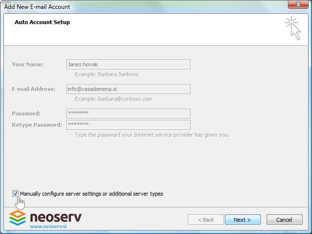 Outlook 2007 - manually configure.