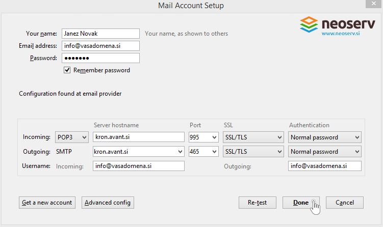 Thunderbird en port and server settings.