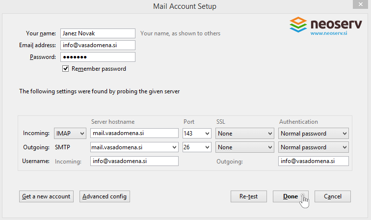 Thunderbird en imap without ssl - port and server settings.