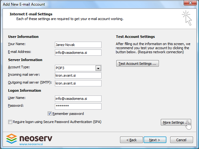 Outlook 2007 pop3 with ssl - server settings.