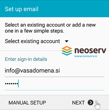 Android Mail - set up account info.