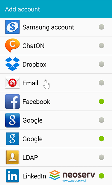 Android Mail - add email account.