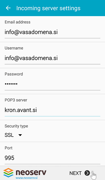 Android mail pop3 protocol with ssl -server configuration.