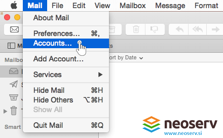 Mac mail - adding accounts.