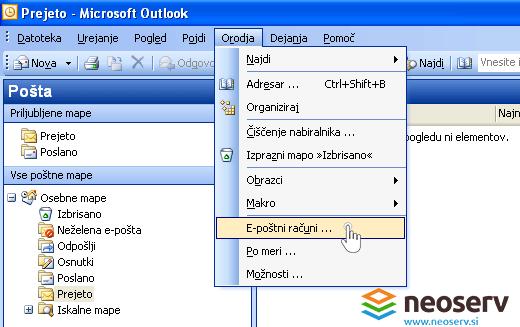 Outlook 2003 - dodajanje računa.