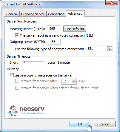 Outlook 2007 pop3 with ssl - nastavitev vrat