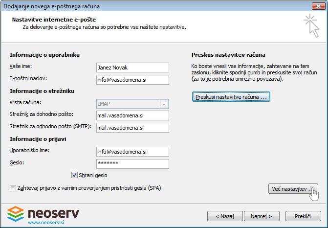 Outlook 2007 slo imap brez ssl - nastavitve streznika.