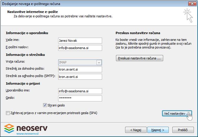 Outlook 2007 slo imal z ssl - nastavitve streznika.