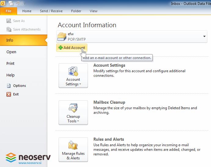 Outlook 2010 slo pop brez ssl - dodajanje racuna.