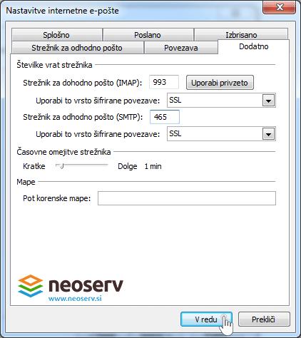 Oulook 2010 slo imap ssl - nastavitve vrat(portov)