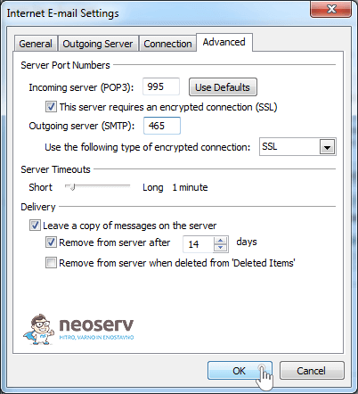 Outlook 2010 en pop with ssl - nastavitev vrat