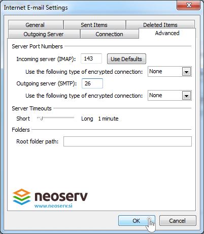 Outlook 2010 imap no ssl en - port settings.