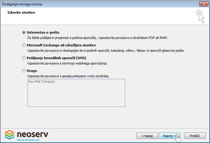 Outlook 2010 slo - dodajanje internetne poste -racun.