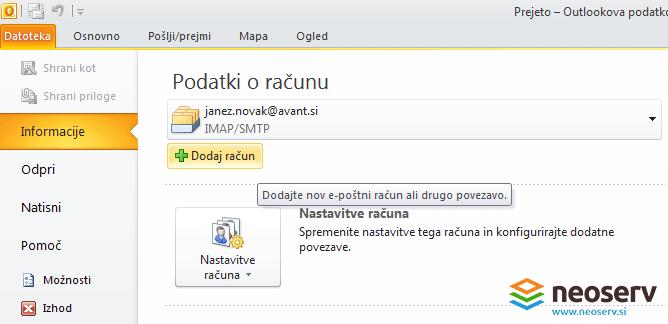 Outlook 2010 slo - dodajanje email racuna.