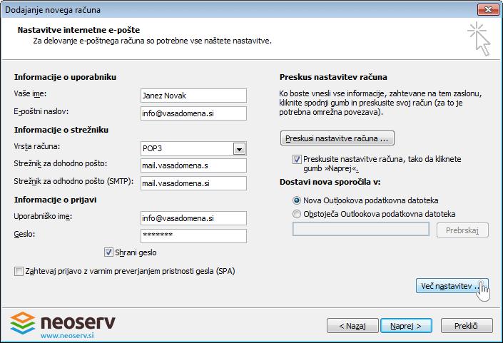 Outlook 2010 slo pop brez ssl - dodajanje streznika.