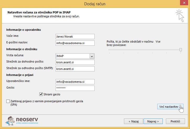 Outlook 2013 slo imap ssl nastavitve