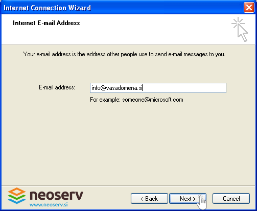 Outlook express en - adding email address.