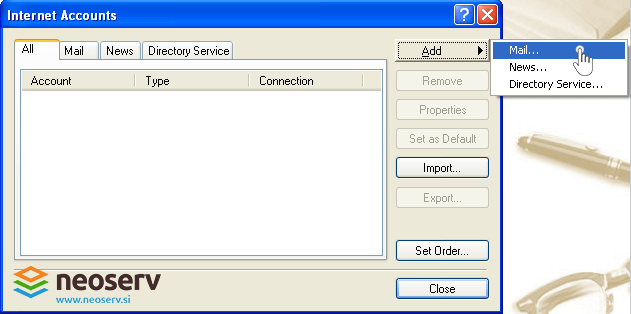 Outlook express en - adding mail account.