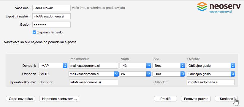 Thunderbird for Mac slo - imap brez ssl nastavitve vrat in streznika.