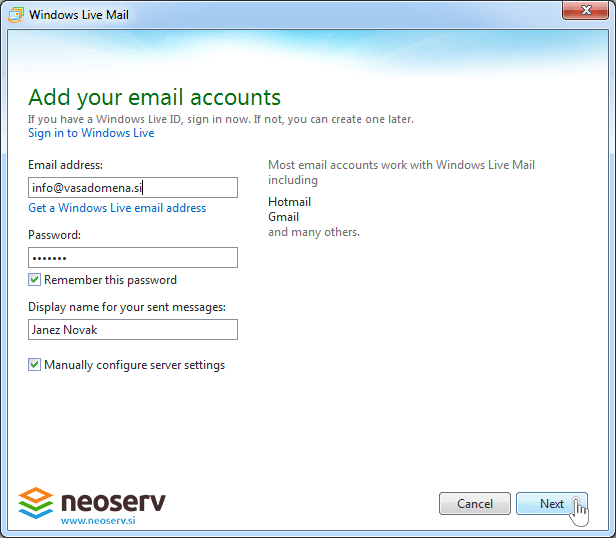 Windows live mail 2012 - account settings.