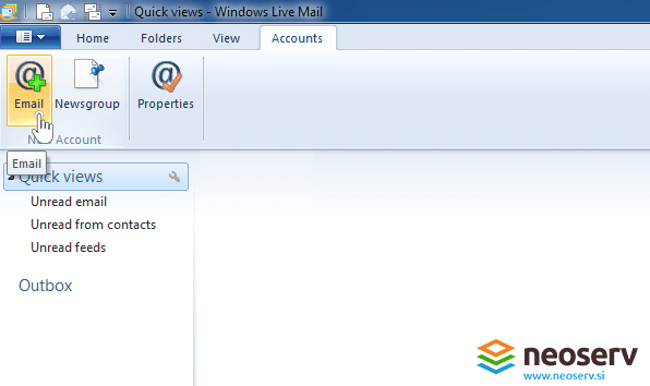 Windows live mail 2012 - adding new account.