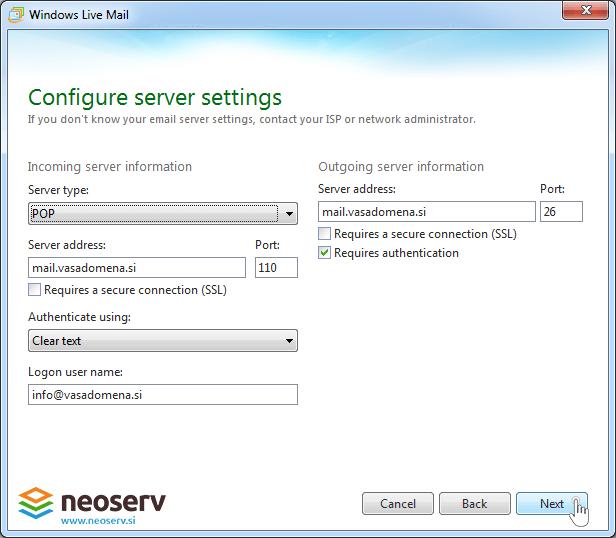 Windows live mail 2012 - server settings.