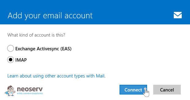 Window 8 Mail en - imap brez ssl