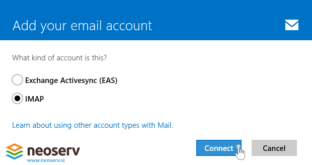 Window 8 Mail en - imap no ssl