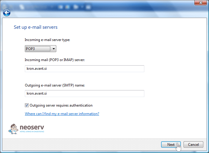 WIndows mail 6 en pop with ssl - nastavitve strežnika