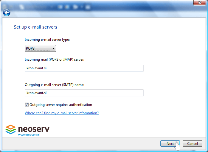 WIndows mail 6 en pop with ssl - server settings.
