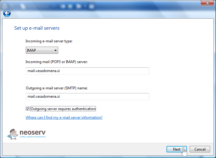 Windows Mail 6 imap without ssl - nastavitve strežnika