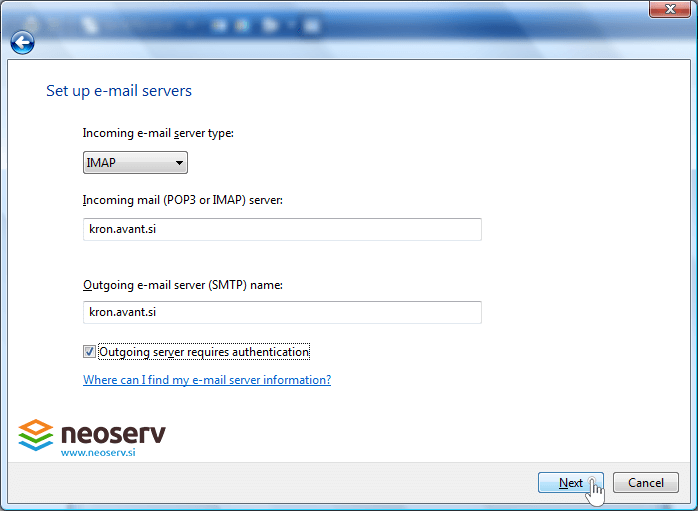 Windows mail 6 imap with ssl - server-settings.